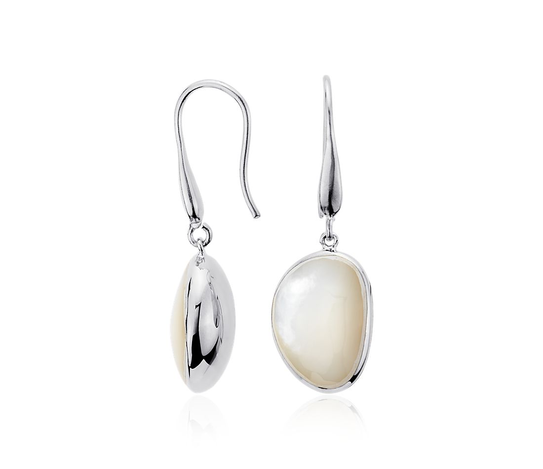 Mother of Pearl Drop Earrings in Sterling Silver