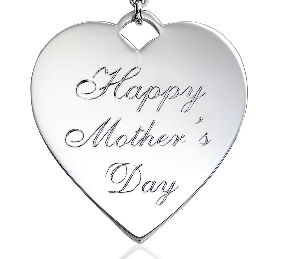 "Dije con forma de corazón con la frase ""Happy Mother's Day"" en plata de ley"