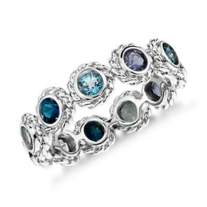 Multi-Gemstone Confetti Ring in 14k White Gold (3mm)