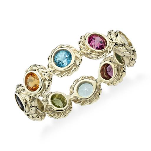 Multi-Gemstone Confetti Ring in 14k Yellow Gold