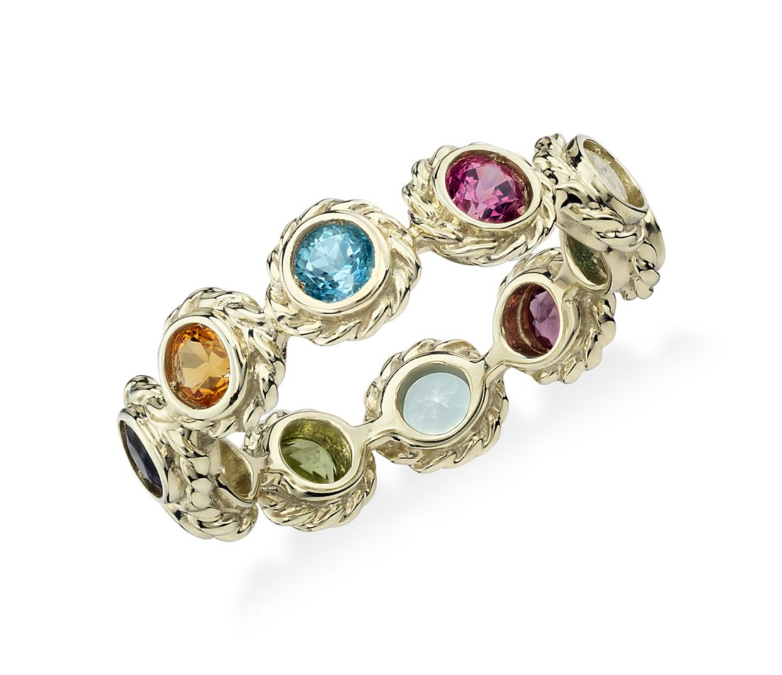 Multi-Gemstone Confetti Ring in 14k Yellow Gold (3mm)
