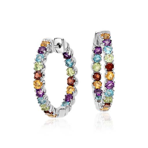 Multicolour Gemstone Hoop Earrings in Sterling Silver