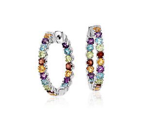 Multicolor Hoop Earrings in Sterling Silver