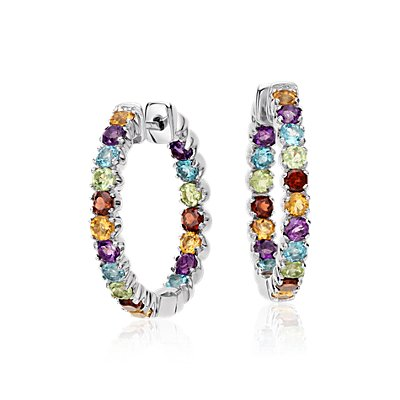 Multicolor Gemstone Hoop Earrings in Sterling Silver (2.5mm)