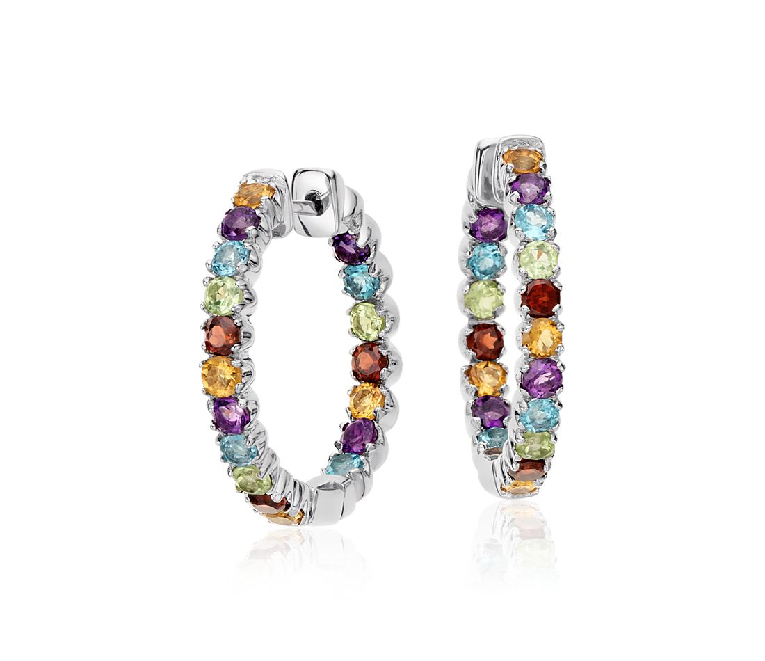 Multicolor Gemstone Hoop Earrings in Sterling Silver