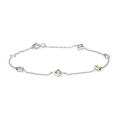 Bracelet confetti multicolore en or blanc 14carats (5x3mm)