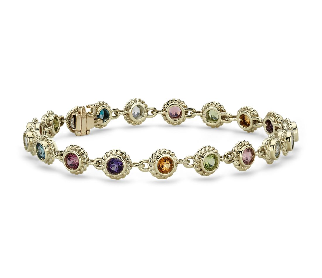 Multicolored Gemstone Confetti Bracelet in 14k Yellow Gold