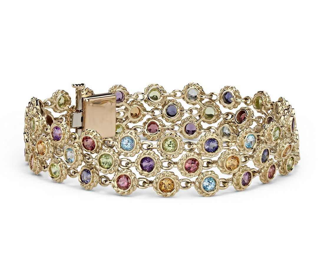 Multicolored Gemstone Confetti 3 Tier Bracelet in 14k Yellow Gold