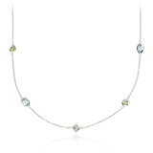 Multicolor Gemstone Confetti Necklace in 14k White Gold (5x3mm)