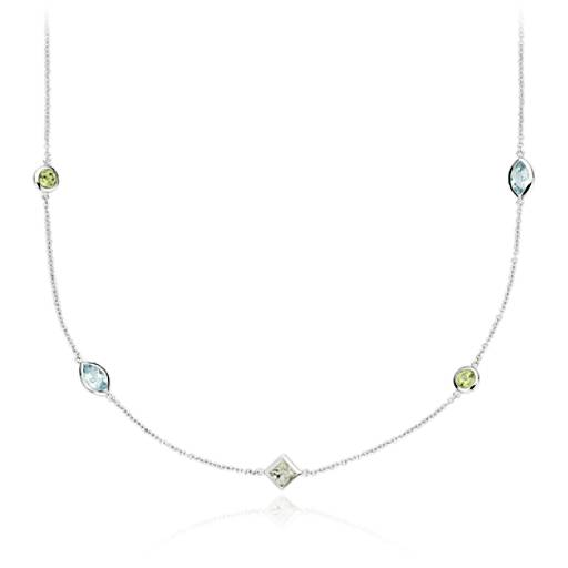 Collier confetti pierre gemme multicolore en or blanc 14 carats (5 x 3 mm)