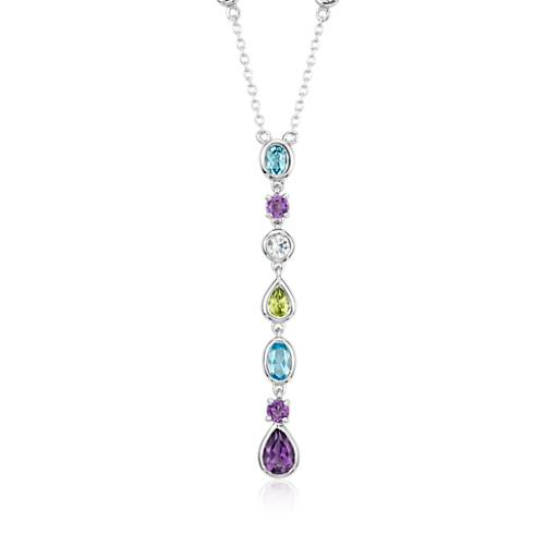 Multicolor Gemstone Drop Necklace in Sterling Silver
