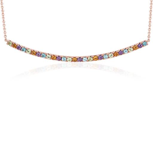 NEW Multi-Gemstone Delicate Bar Necklace in 14k Rose Gold (1.5mm)