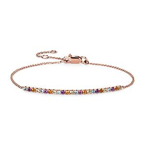 Multi-Gemstone Delicate Bar Bracelet in 14k Rose Gold (1.5mm)
