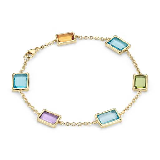 Robert Leser Windows Multi-Gemstone Bracelet in 14k Yellow Gold (10x7mm)