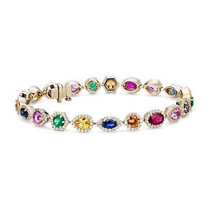 NEW Multicolour Gemstone and Diamond Bracelet in 18k Yellow Gold