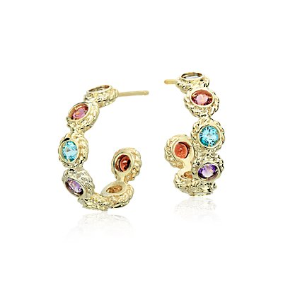 Multi-Gemstone Confetti Huggie Hoop Earrings en oro amarillo de 14 k (3 mm)
