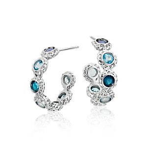 Multi-Gemstone Confetti Huggie Hoop Earrings in 14k White Gold (3mm)