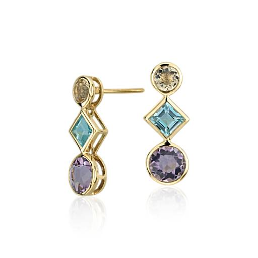 NEW Multi-Gemstone Drop Earrings in 14k Yellow Gold