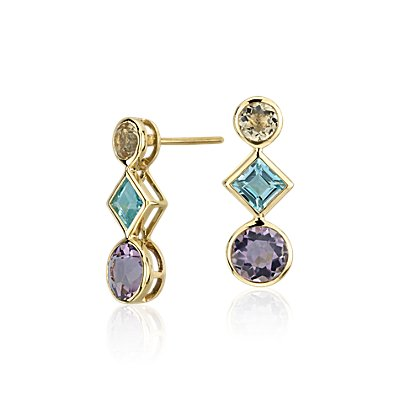 Multi-Gemstone Drop Earrings in 14k Yellow Gold