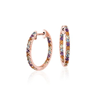 Créoles serties pavé de pierres gemmes multicolores en or rose 14 carats (1,5 mm)