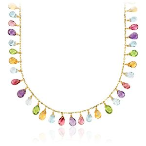 Multi-Gemstone Statement Necklace in 14k Yellow Gold (5x6mm)