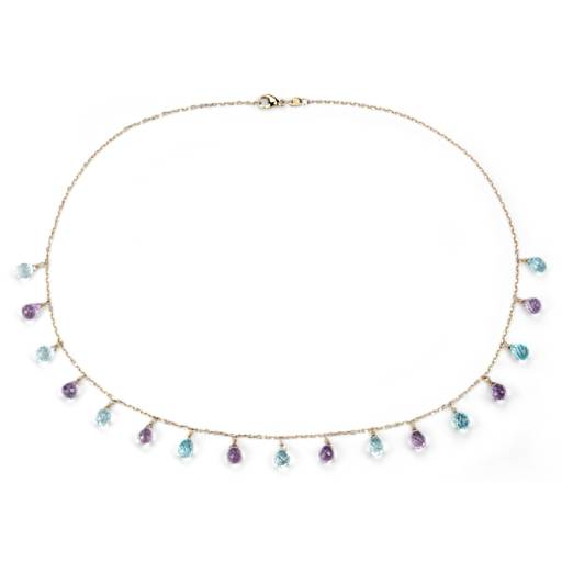 Blue Topaz and Amethyst Statement Necklace in 14k Yellow Gold