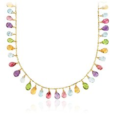 Multi-Gemstone Statement Necklace in 14k Yellow Gold