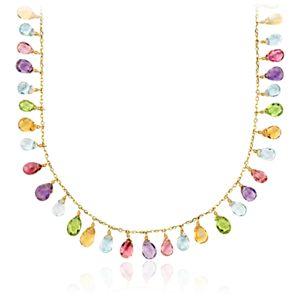 Collar de compromiso con diversas gemas en oro amarillo de 14k