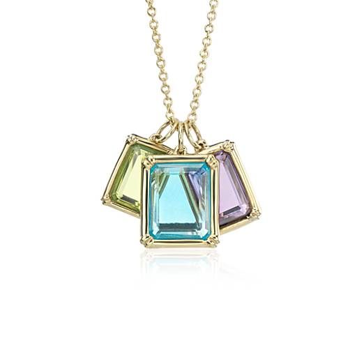 Robert Leser Windows Multi-gemstone Pendant in 14k Yellow Gold (10x7mm)