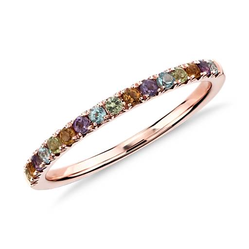 NEW Multi-Gemstone Pavé Ring in 14k Rose Gold