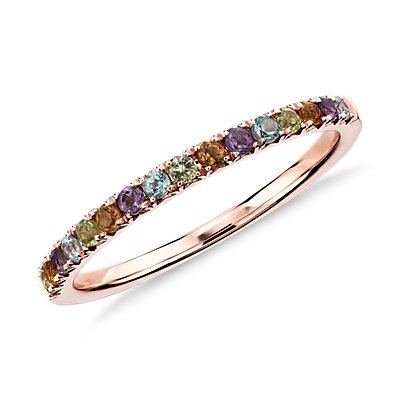 Bague sertie pavé de pierres gemmes multicolores en or rose 14 carats (1,5 mm)