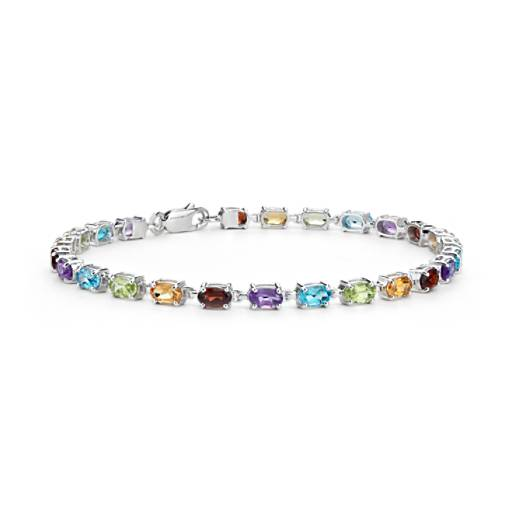 Petite Oval Multicolor Gemstone Bracelet in Sterling Silver (5x3mm)