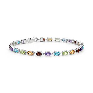 Petite Oval Multicolour Gemstone Bracelet in Sterling Silver (5x3mm)