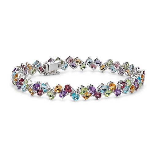 NEW Two Row Multicolor Gemstone Bracelet in Sterling Silver (4x3mm)