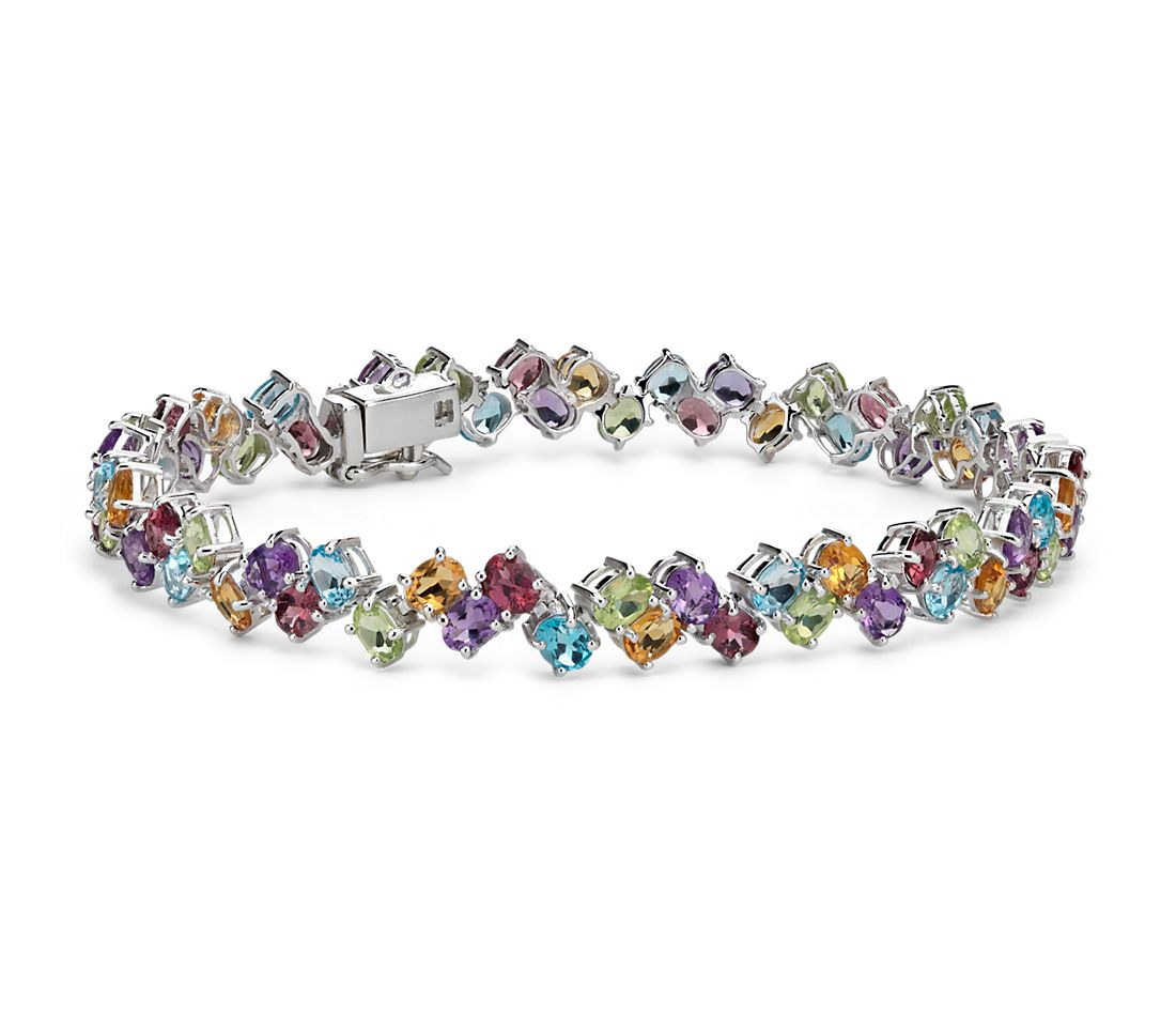 Two Row Multicolor Gemstone Bracelet In Sterling Silver