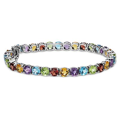 Multicoloured Gemstone Bracelet in Sterling Silver (5mm)