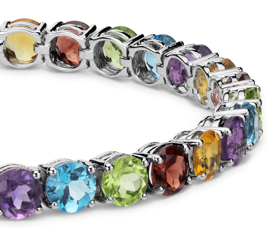 Multicolor Gemstone Bracelet in Sterling Silver (5mm)