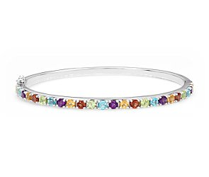Multicolor Bangle Bracelet in Sterling Silver