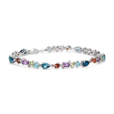 Bracelet pierre gemme multicolore en argent sterling (6 x 4 mm)