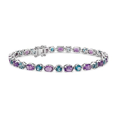 NEW Amethyst and Blue Topaz Bracelet in Sterling Silver