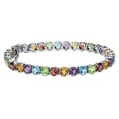 Multicolour Gemstone Bracelet in Sterling Silver