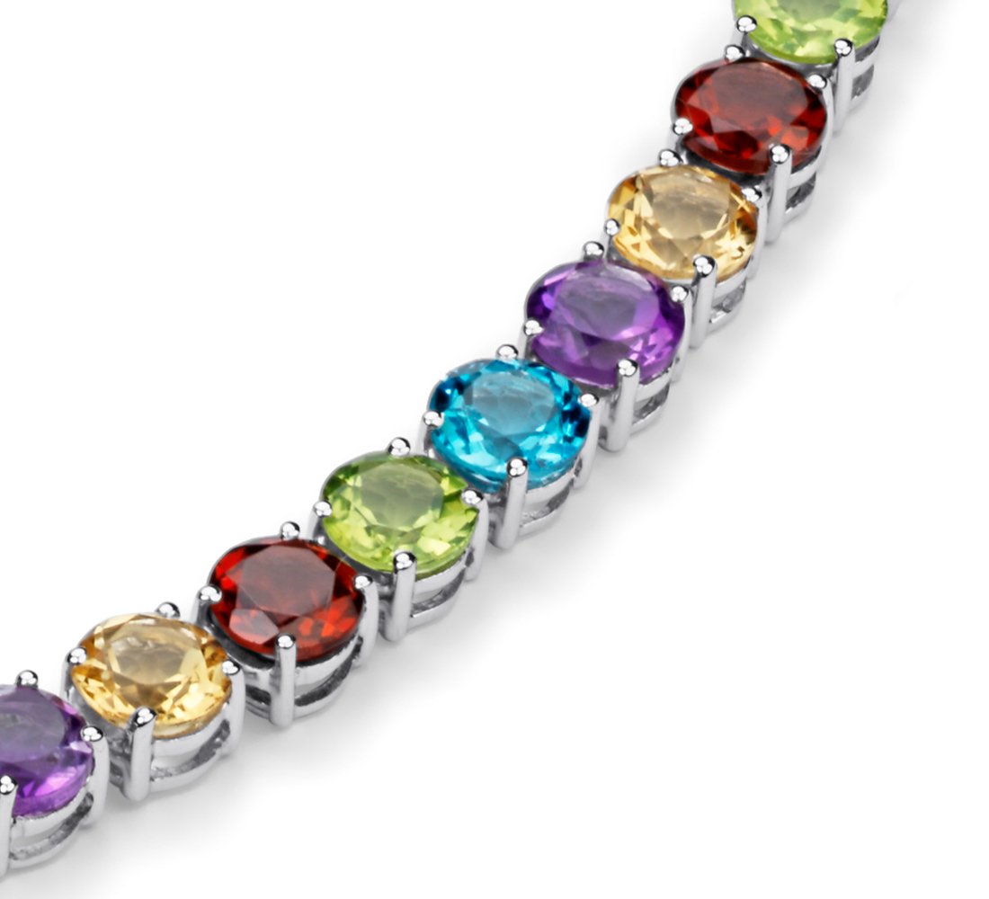Multicolor Gemstone Necklace in Sterling Silver (5mm)