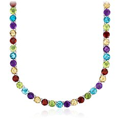 Multicolor Gemstone Necklace in Sterling Silver