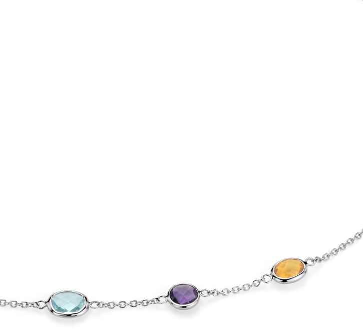 Multi  5 Stone Stationed Necklace in Sterling Silver