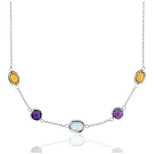 Multicolour Gemstone Stationed Necklace in Sterling Silver