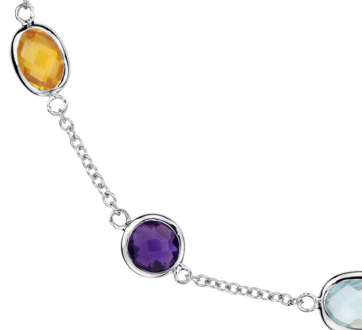 Collier de pierres gemmes multicolores espacées en argent sterling