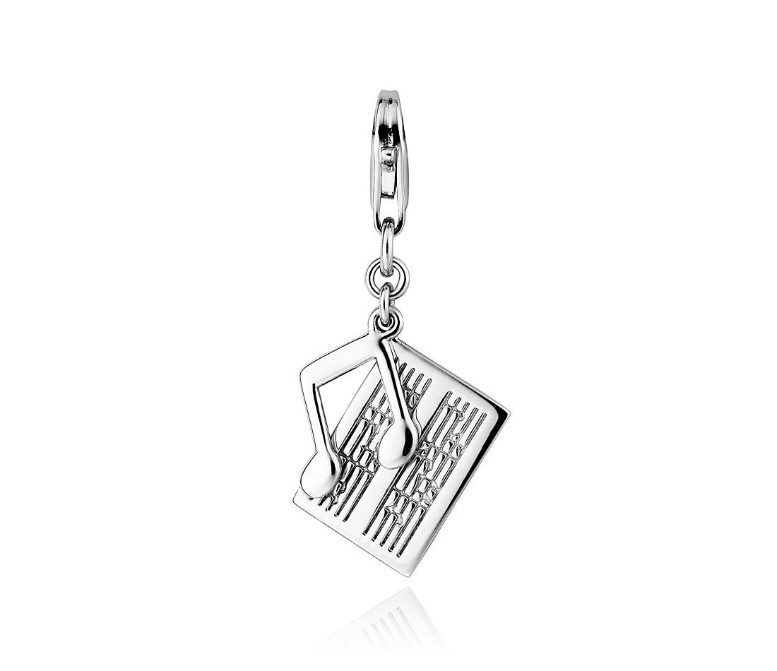 Sheet Music and Note Charm in Sterling Silver