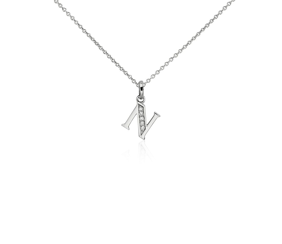 "Mini Initial ""N"" Diamond Pendant in 14k White Gold"