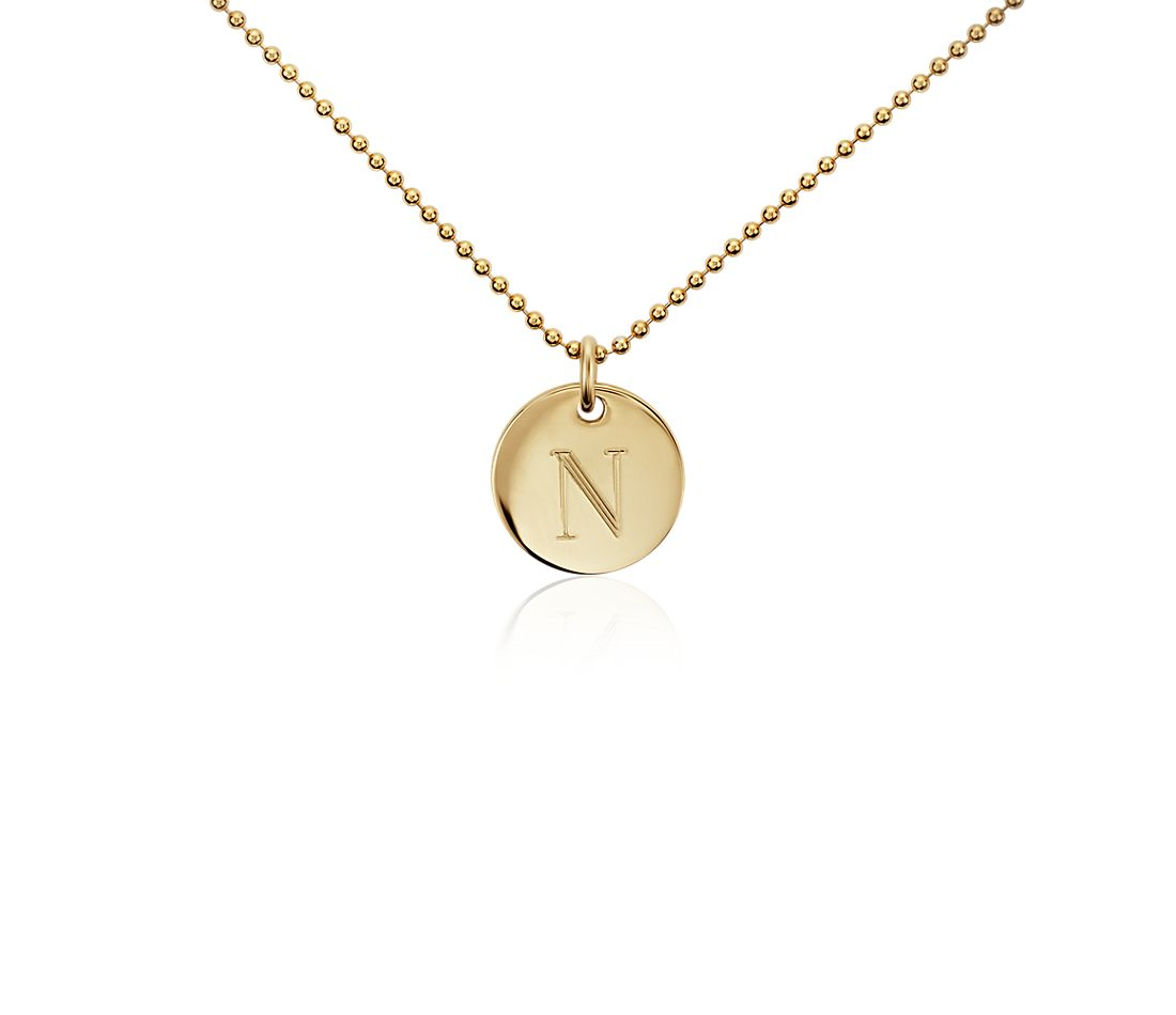 """N"" Mini Initial Pendant in Gold Vermeil"