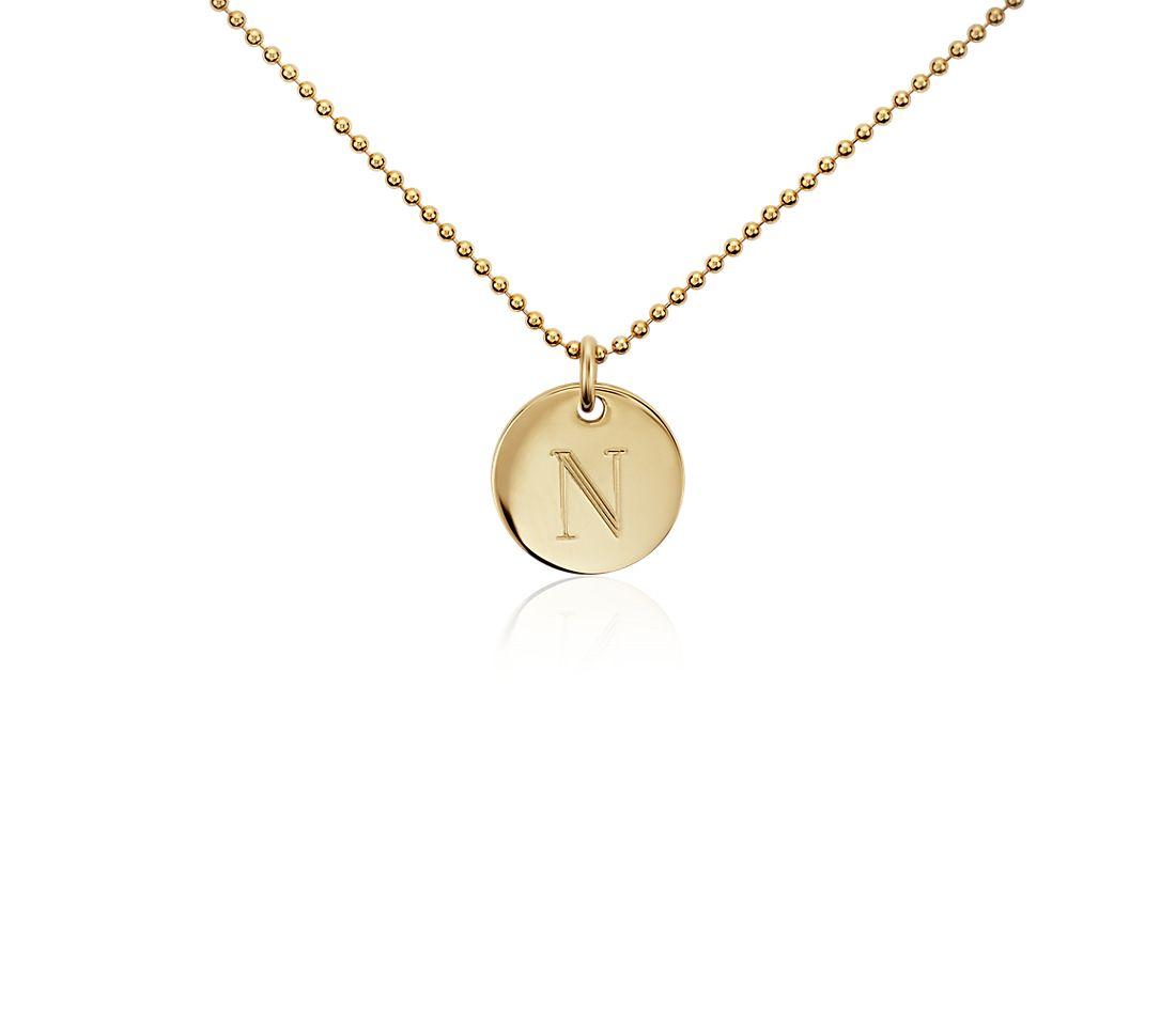 """N"" Mini Initial Pendant in Gold Vermeil"